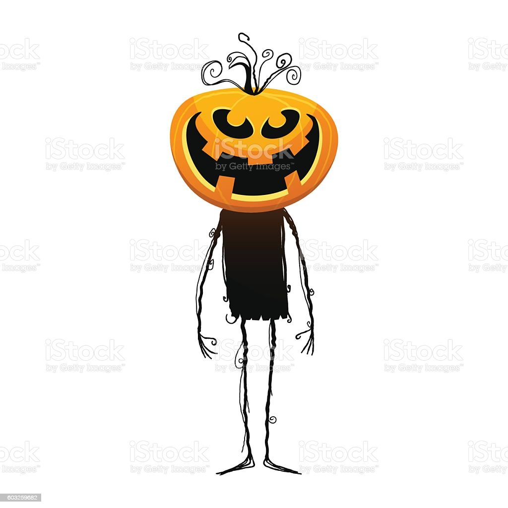 Jack o Lantern standing vector art illustration