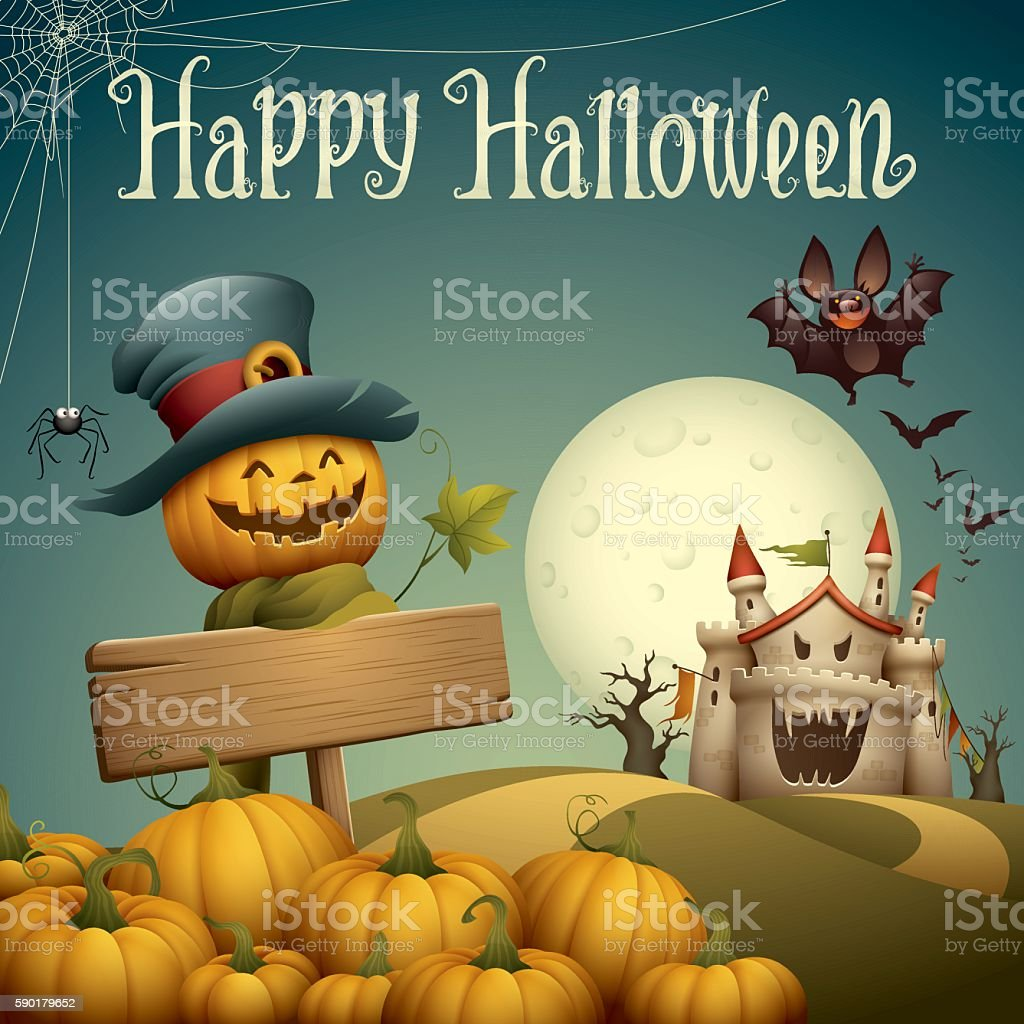 Jack o lantern with haunted castle vector art illustration