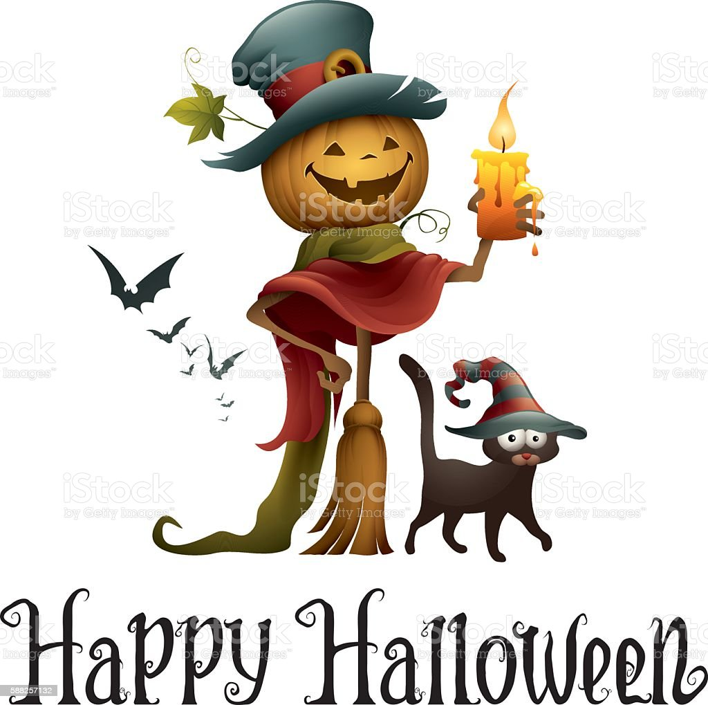Jack o lantern with witch cat vector art illustration
