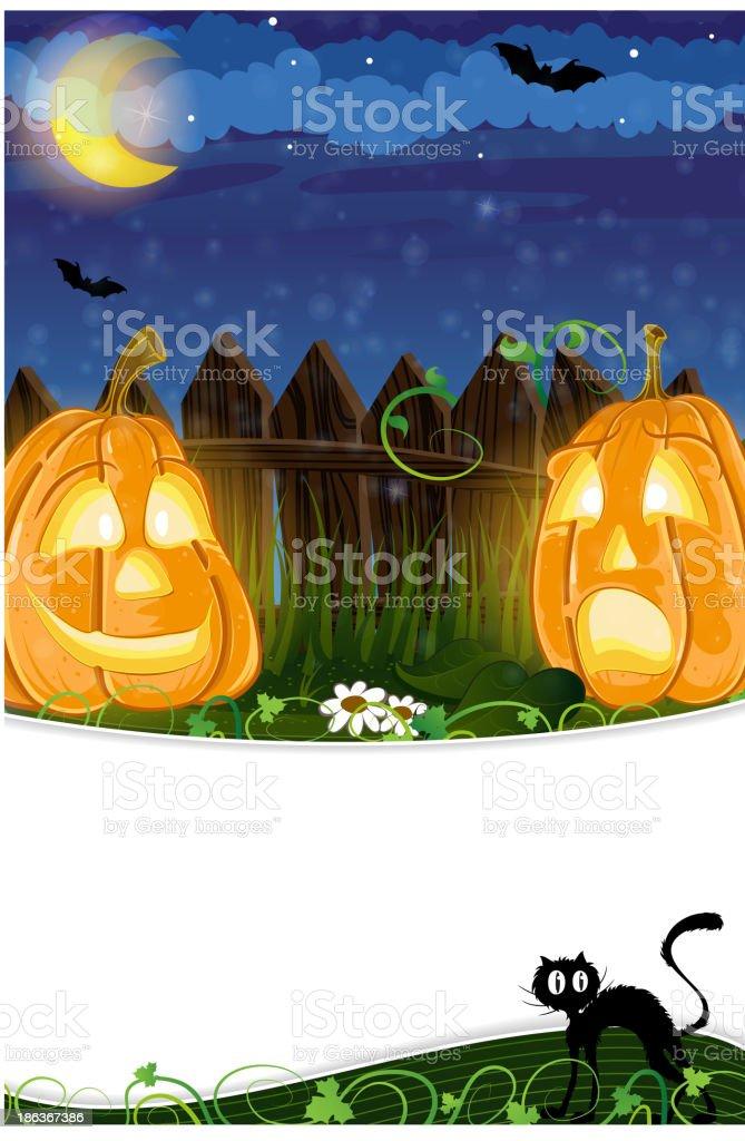 Jack o Lanterns and black cat royalty-free stock vector art