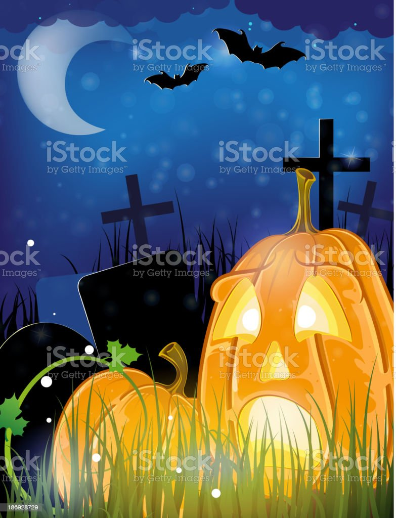 Jack o lanterns on a cemetery royalty-free stock vector art