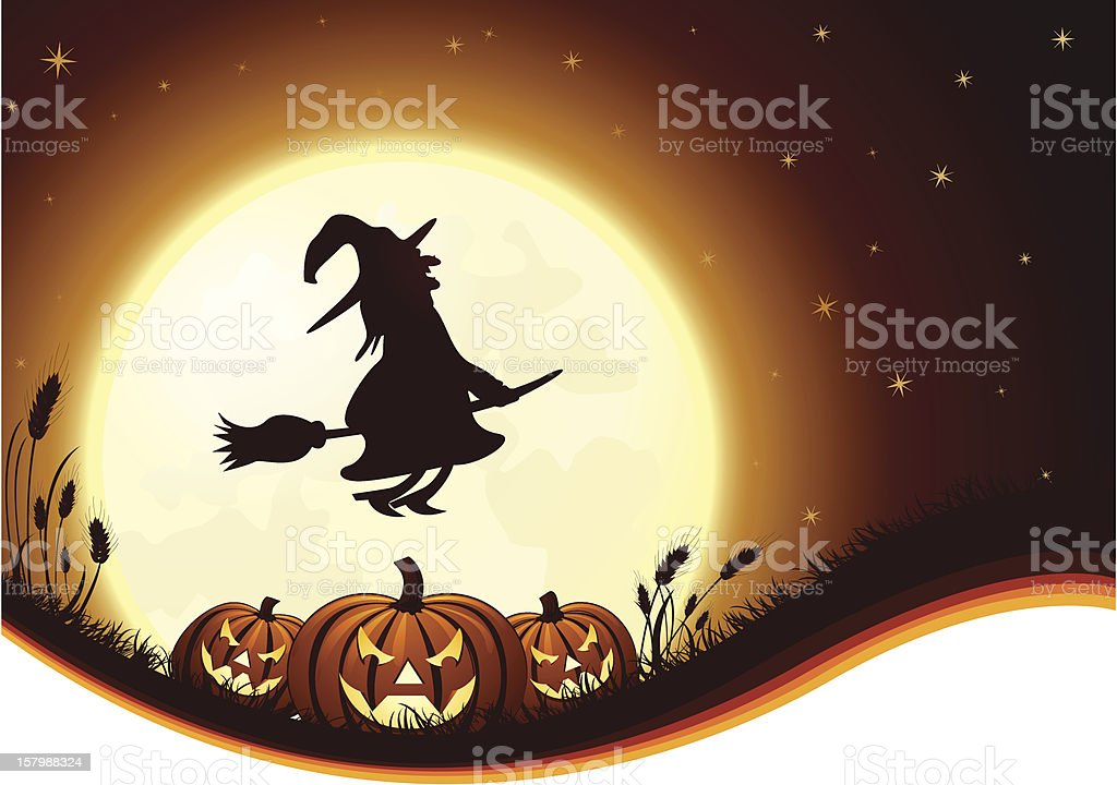 Jack o' Lanterns, Witch and Full Moon royalty-free stock vector art