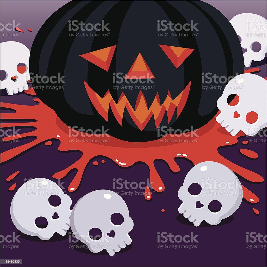 Jack O' Lantern&skulls vector art illustration