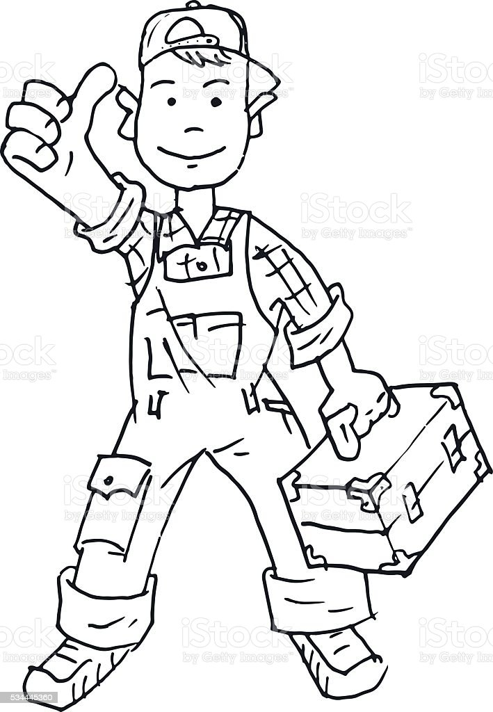 Jack of all trades hand drawn black and white vector art illustration