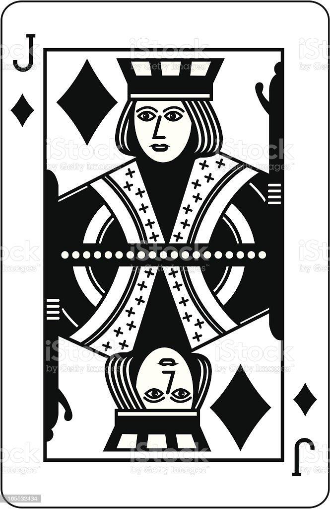 Jack of Diamonds Black vector art illustration
