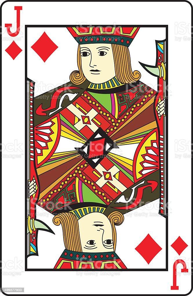 Jack of Diamonds playing card vector art illustration