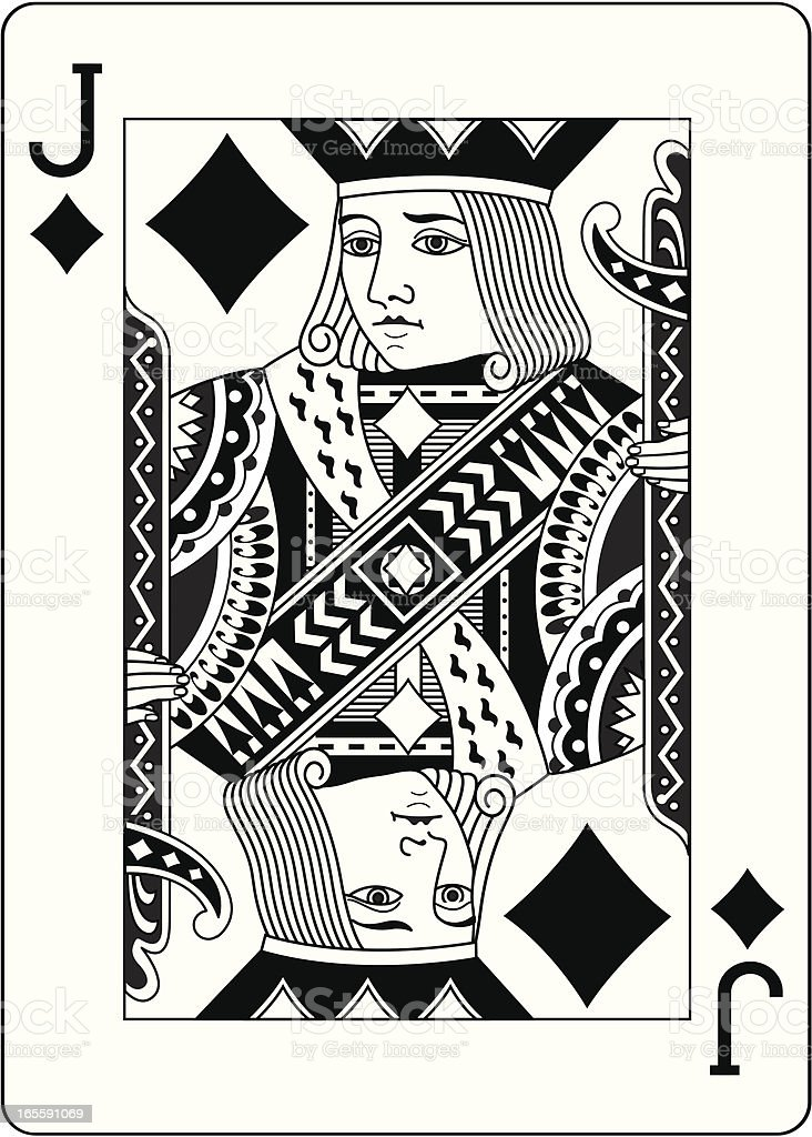 Jack of Diamonds Two Black playing card vector art illustration