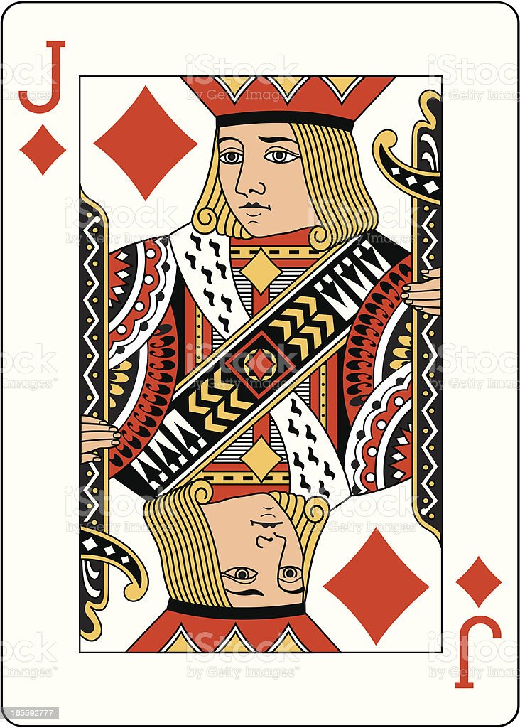 Jack of Diamonds Two playing card vector art illustration