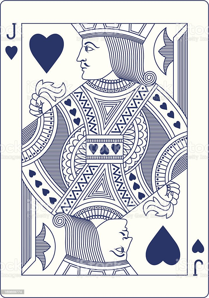 Jack of Hearts playing card in blue line royalty-free stock vector art