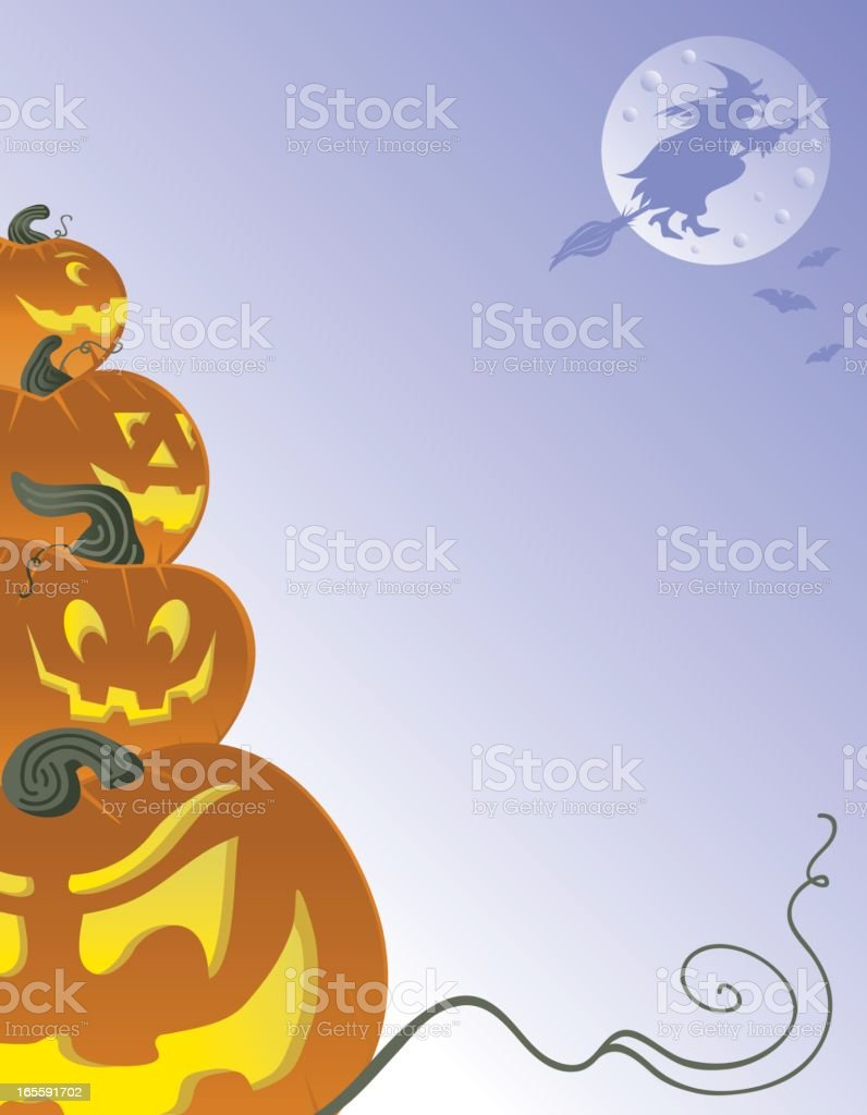 Jack O'lanterns, Witch, and Bats vector art illustration