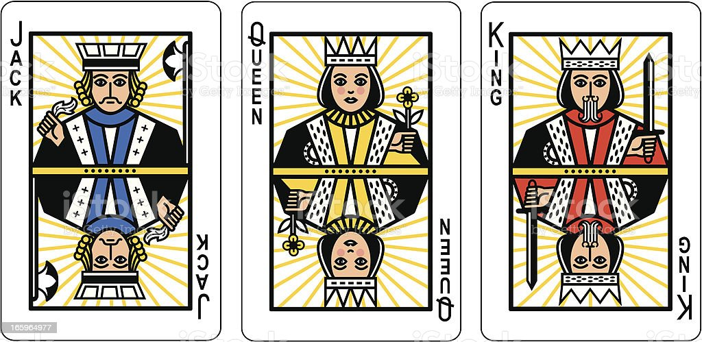 Jack Queen King Playing Cards vector art illustration