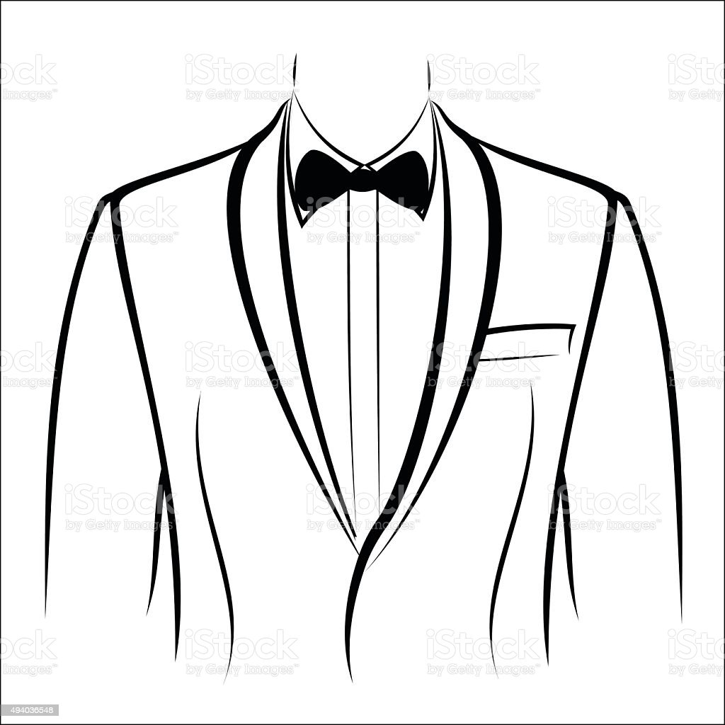 Jacket and bow tie royalty-free stock vector art
