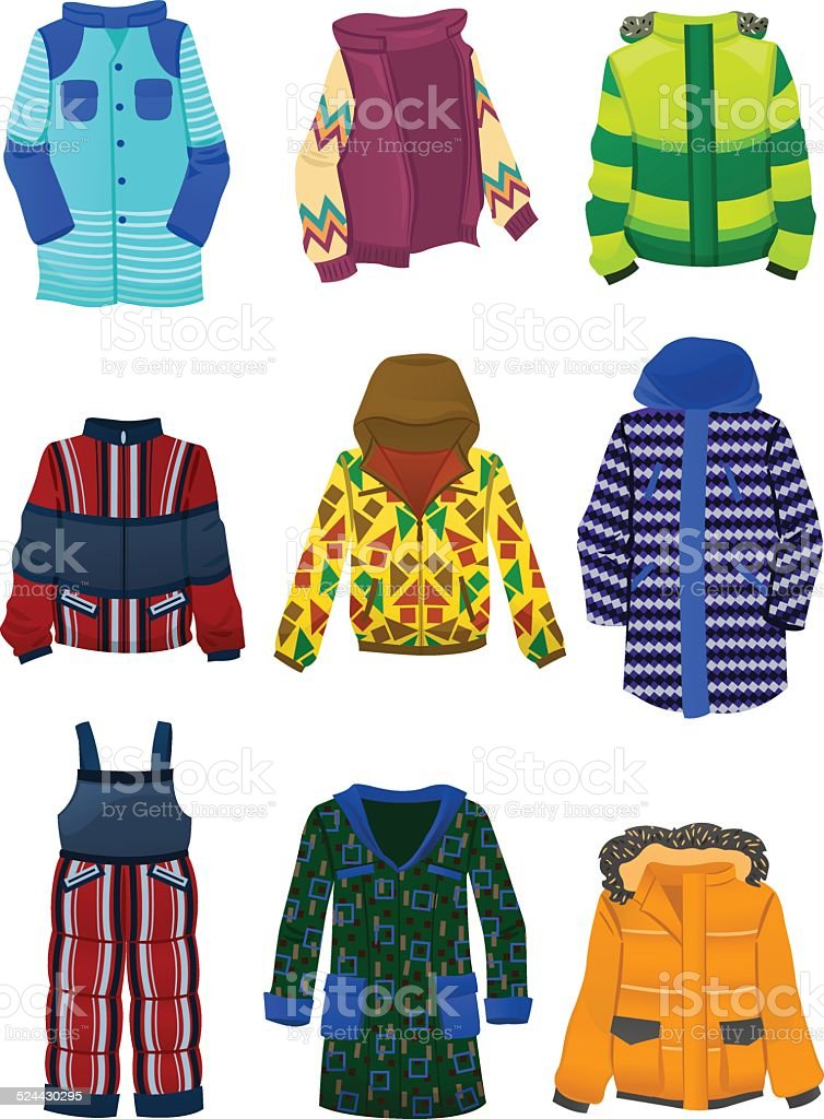 Jackets for boys vector art illustration