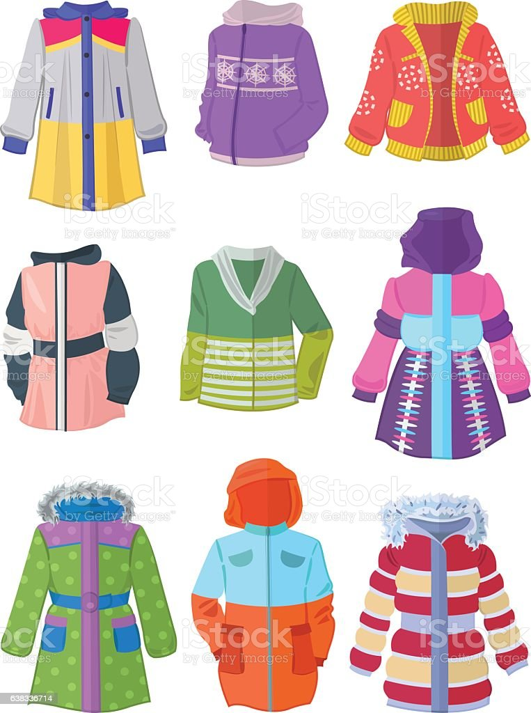 Jackets for girls in flat design vector art illustration