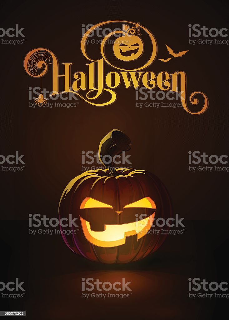Jack-o-Lantern Dark Mean vector art illustration