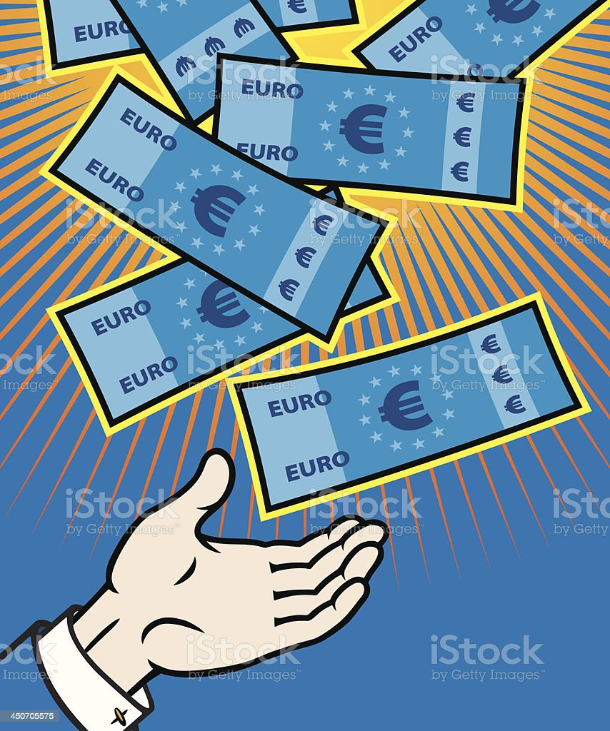 Jackpot, money from heaven. vector art illustration