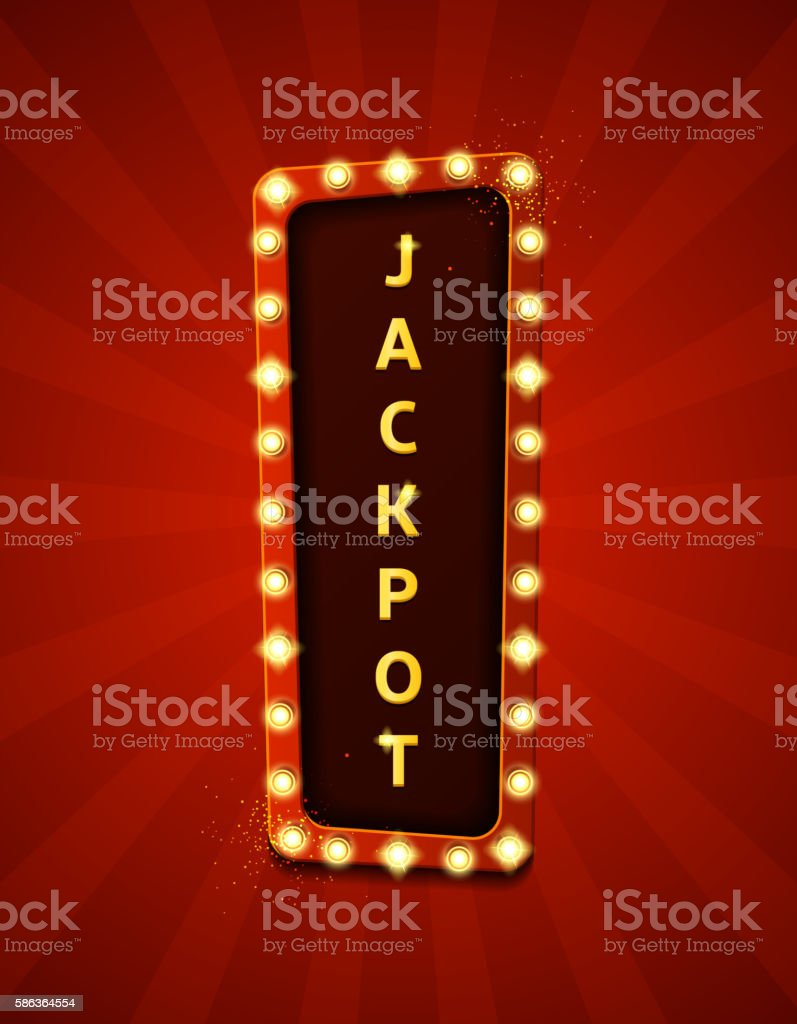 Jackpot retro banner with glowing lamps royalty-free stock vector art