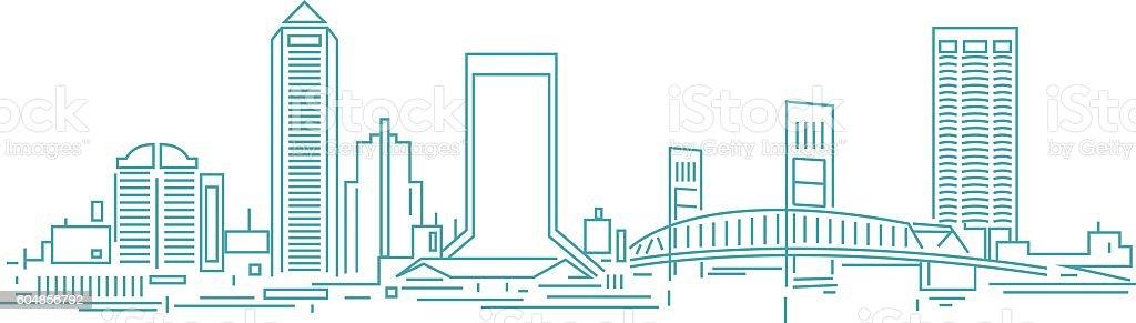 Jacksonville skyline vector art illustration