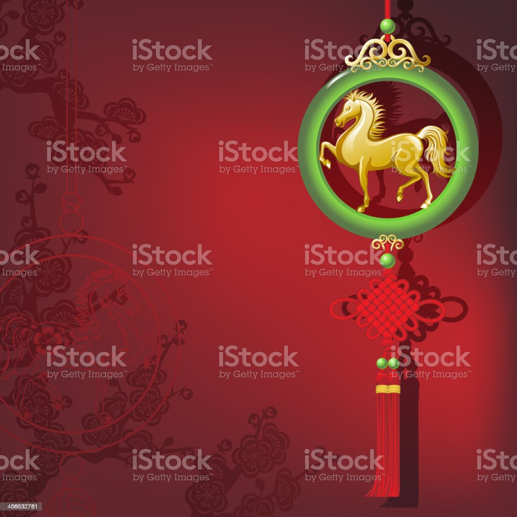 Jade Horse Ornament with Knot in Front of Floral Background royalty-free stock vector art