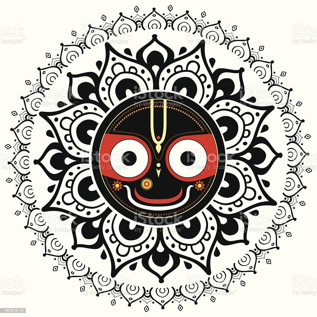Jagannath. Indian God of the Universe. vector art illustration