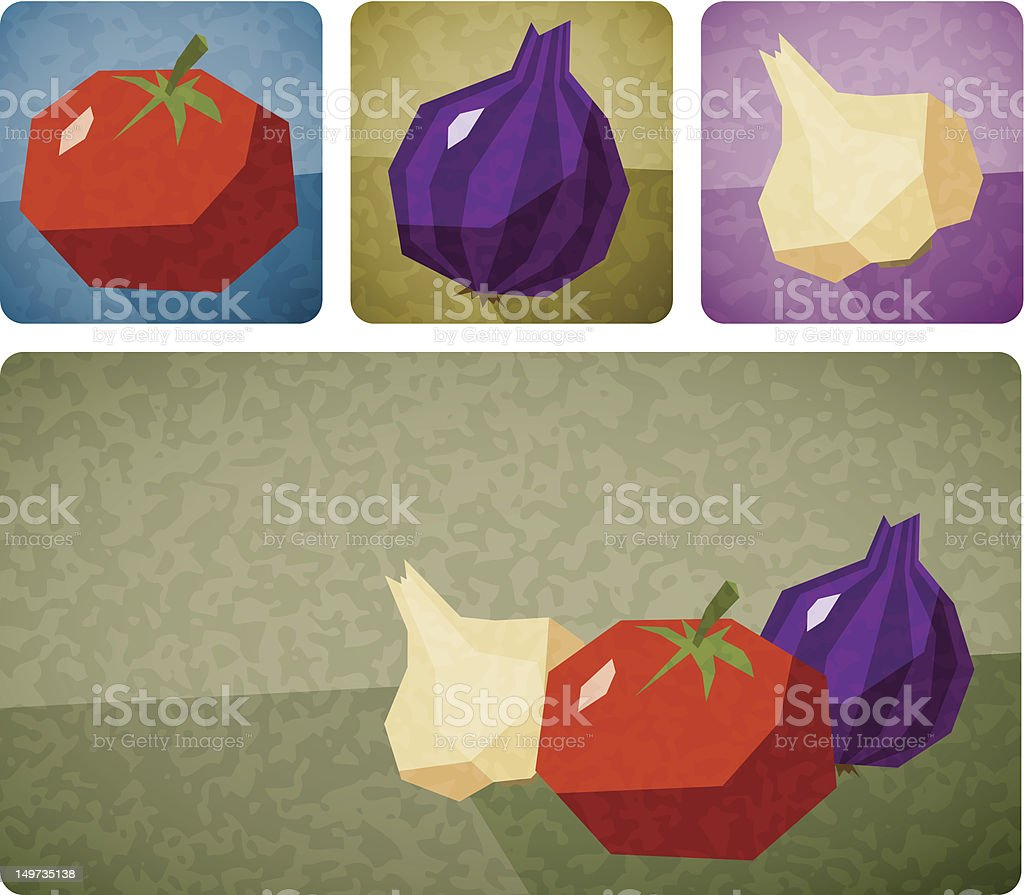 Jagged Italian Veggies vector art illustration