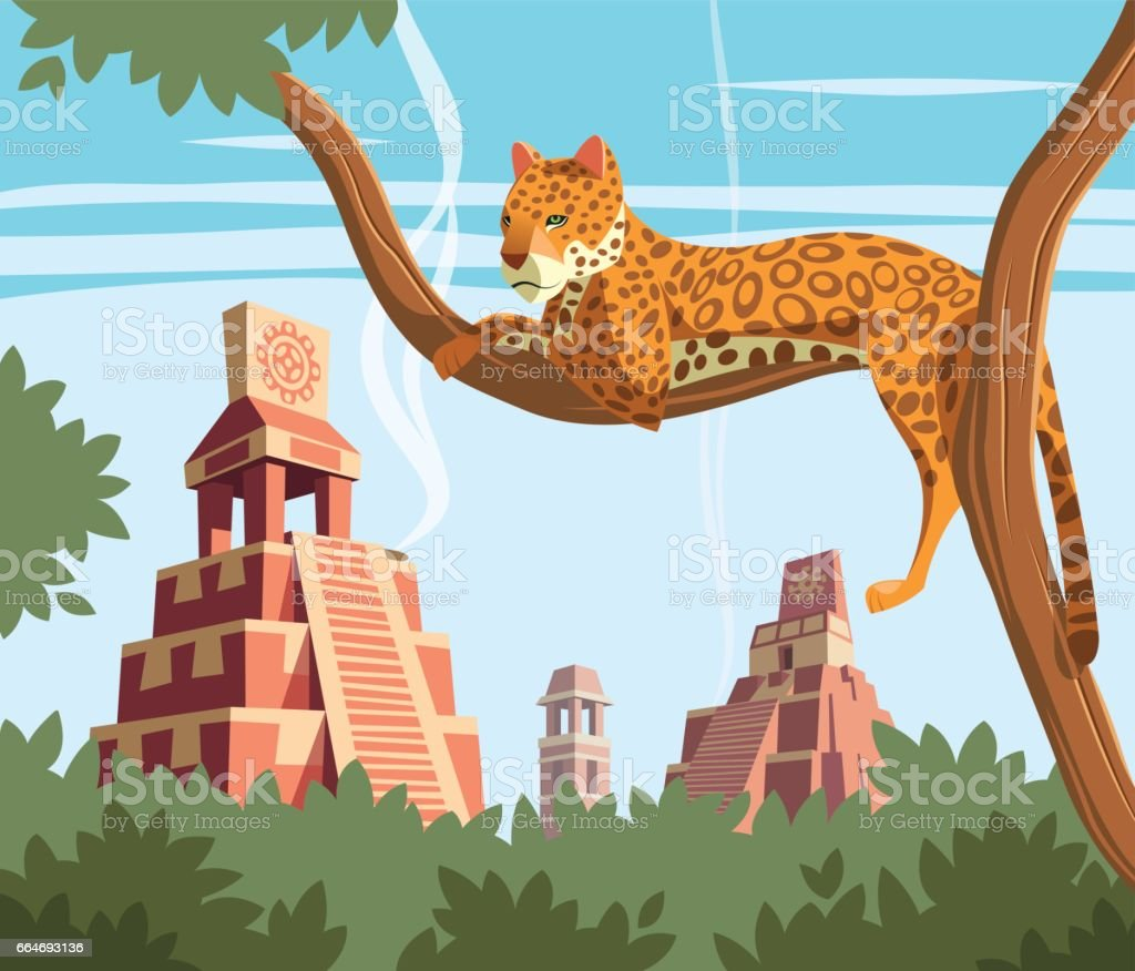 Jaguar on tree and ancient Mayan pyramids in background vector art illustration