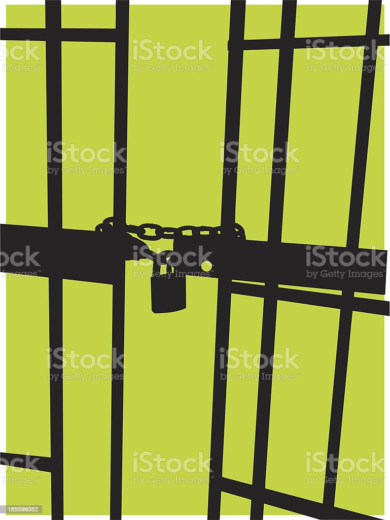 Jail Background - Prison Cell Door & Pad Lock vector art illustration