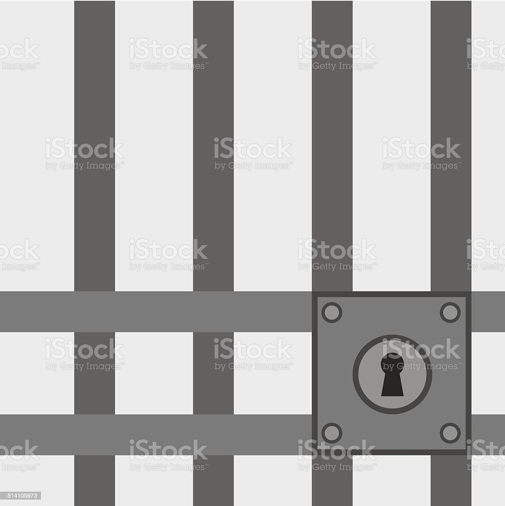 Jail Bars Lock vector art illustration