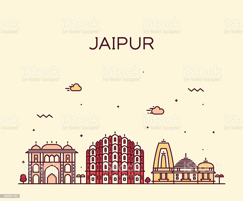 Jaipur skyline trendy vector illustration linear vector art illustration
