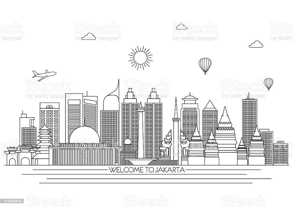 Jakarta detailed Skyline. Travel and tourism background.  Line art style vector art illustration