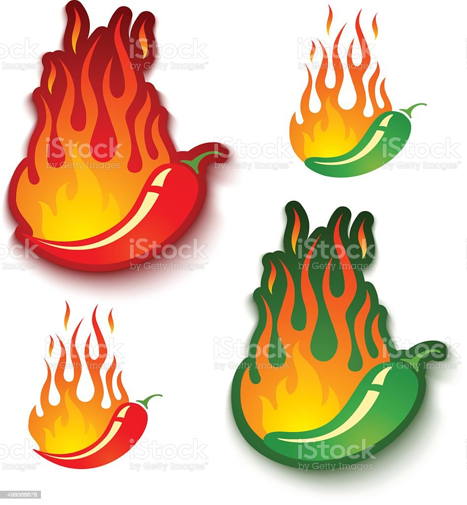 jalapeno and chili peppers in fire vector art illustration