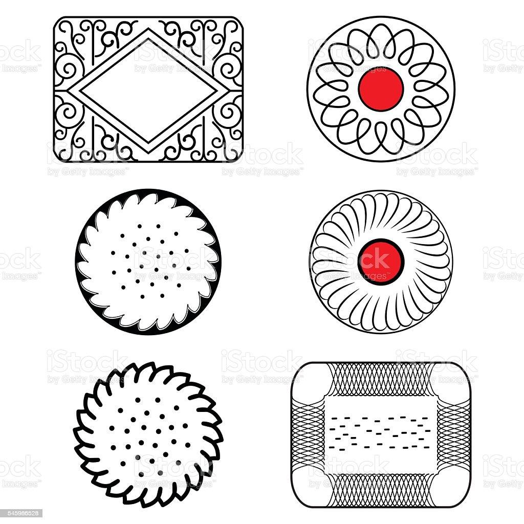 Jam and butter  tea biscuits samples vector art illustration