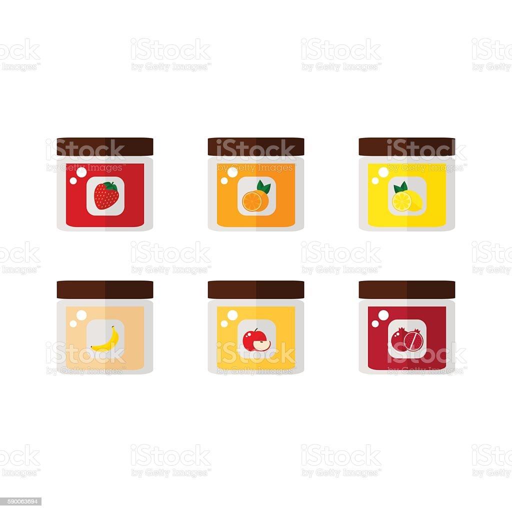 Jam isolated icons on white background. vector art illustration