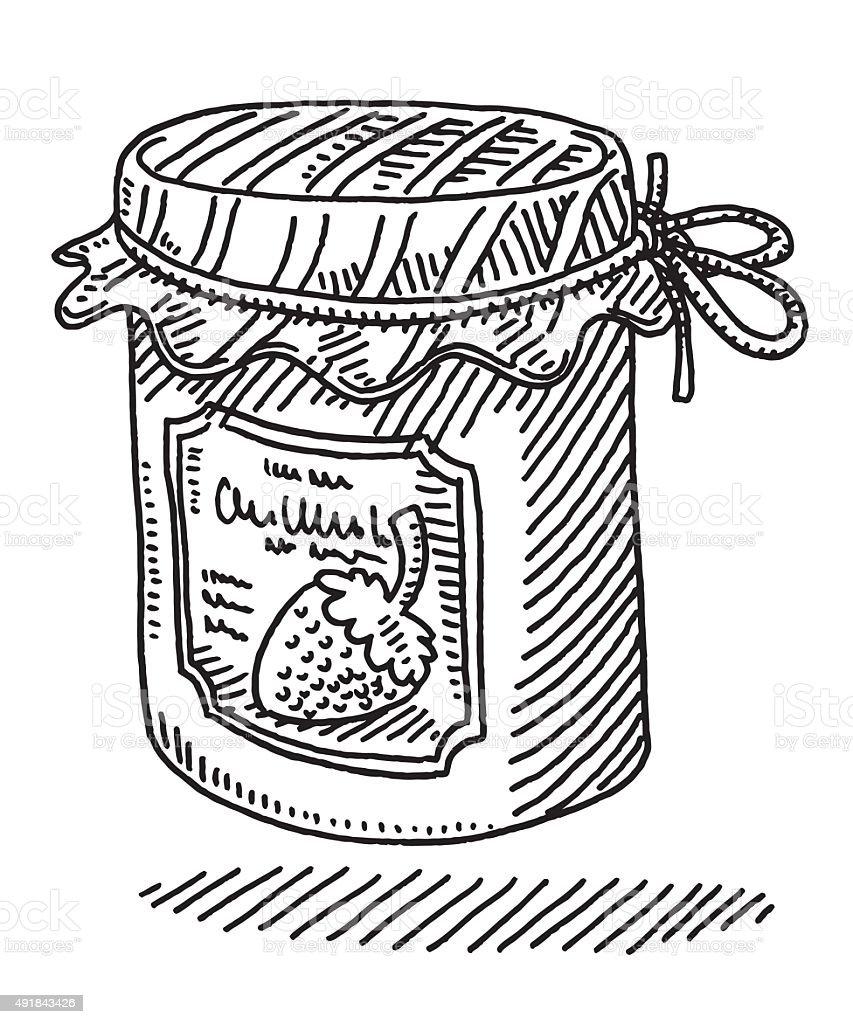 Jam Jar Food Product Drawing vector art illustration