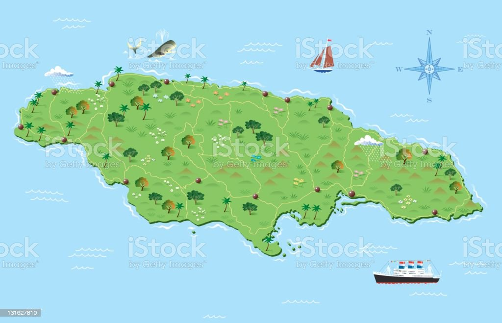 Jamaica illustrated map royalty-free stock vector art