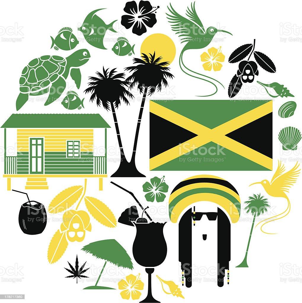 Jamaican Icon Set vector art illustration