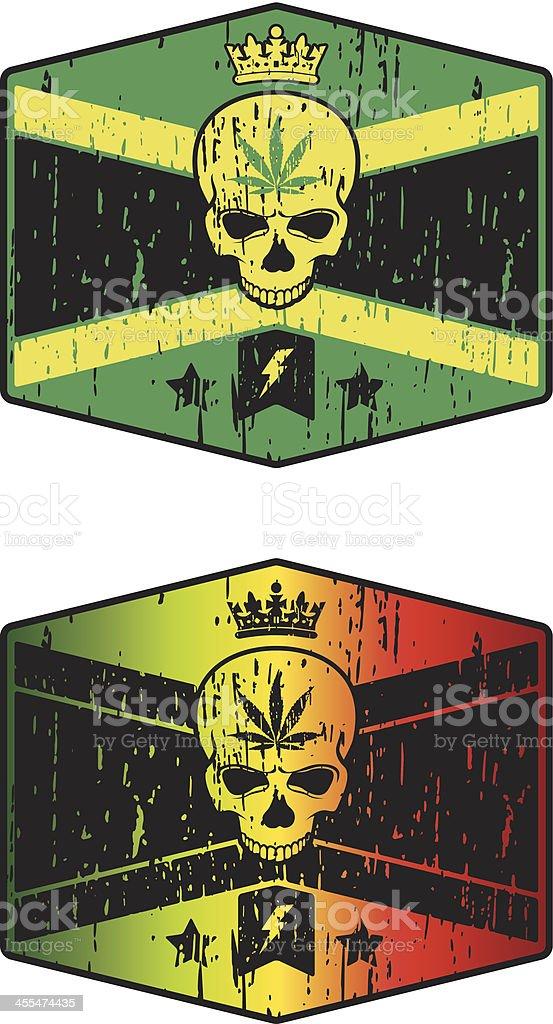 jamaican skull vector art illustration