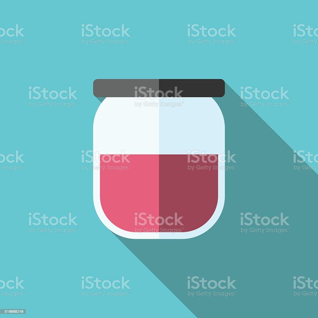 Jam-jar, long shadow vector art illustration