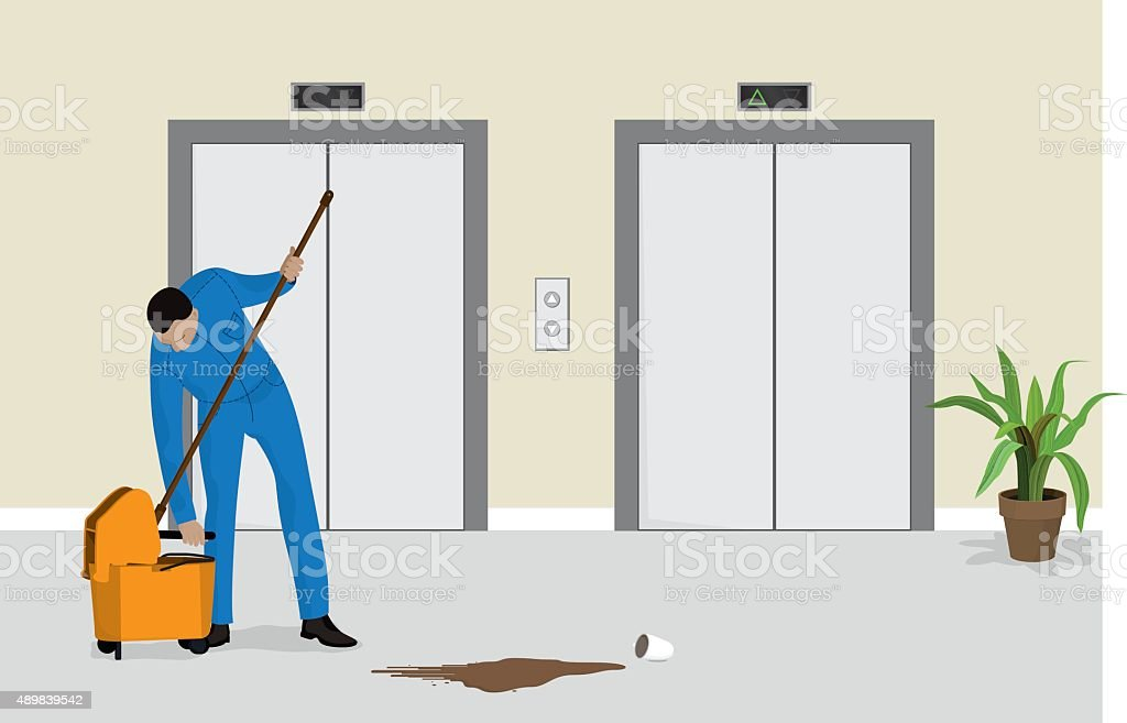 Janitor Cleaning Spilled Coffee vector art illustration