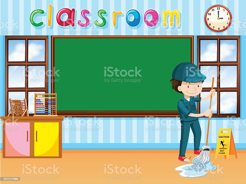 Janitor cleaning the classroom vector art illustration