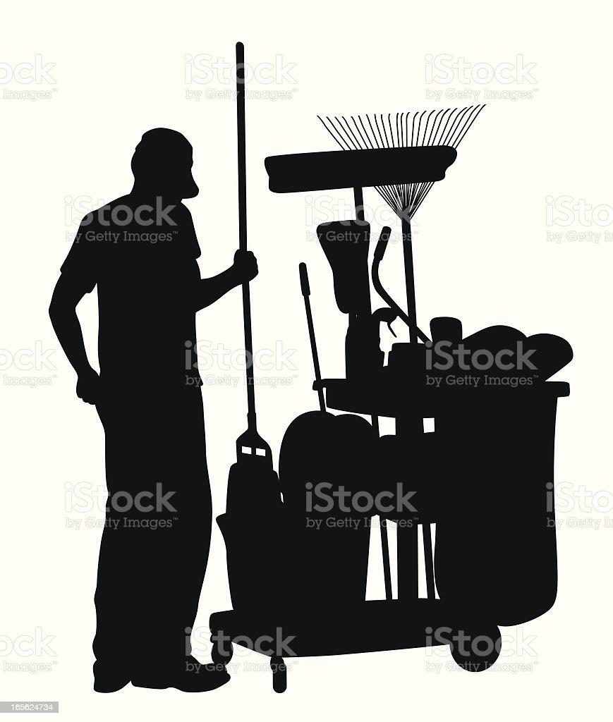 Janitor Vector Silhouette vector art illustration