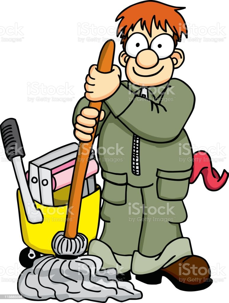 Janitor with Mop and caddy vector art illustration