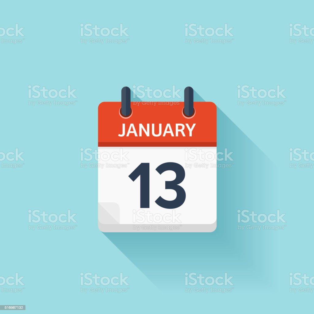 January 13. Vector flat daily calendar icon. Date and time vector art illustration