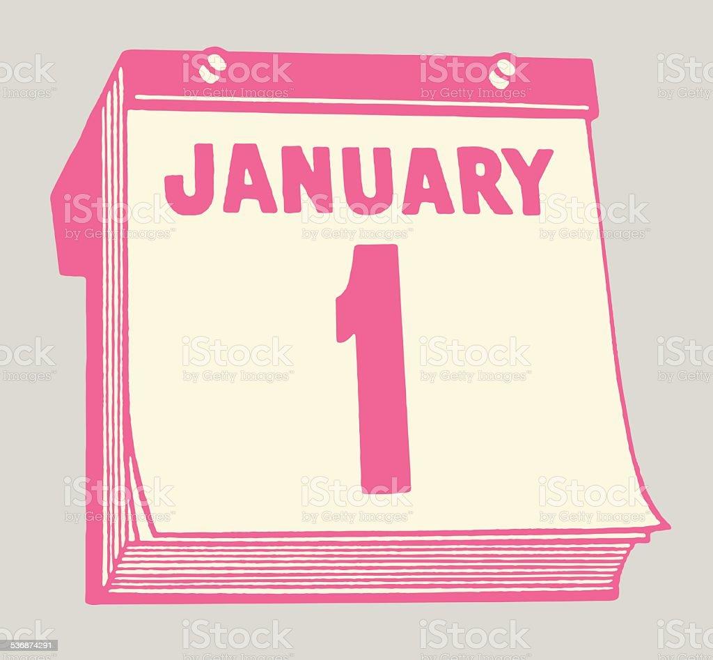 January 1st Calendar vector art illustration