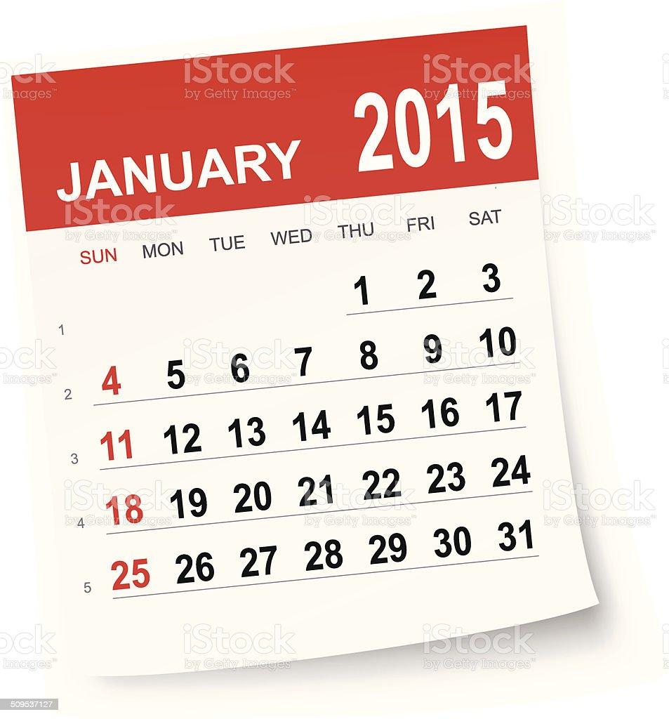 January 2015 calendar vector art illustration