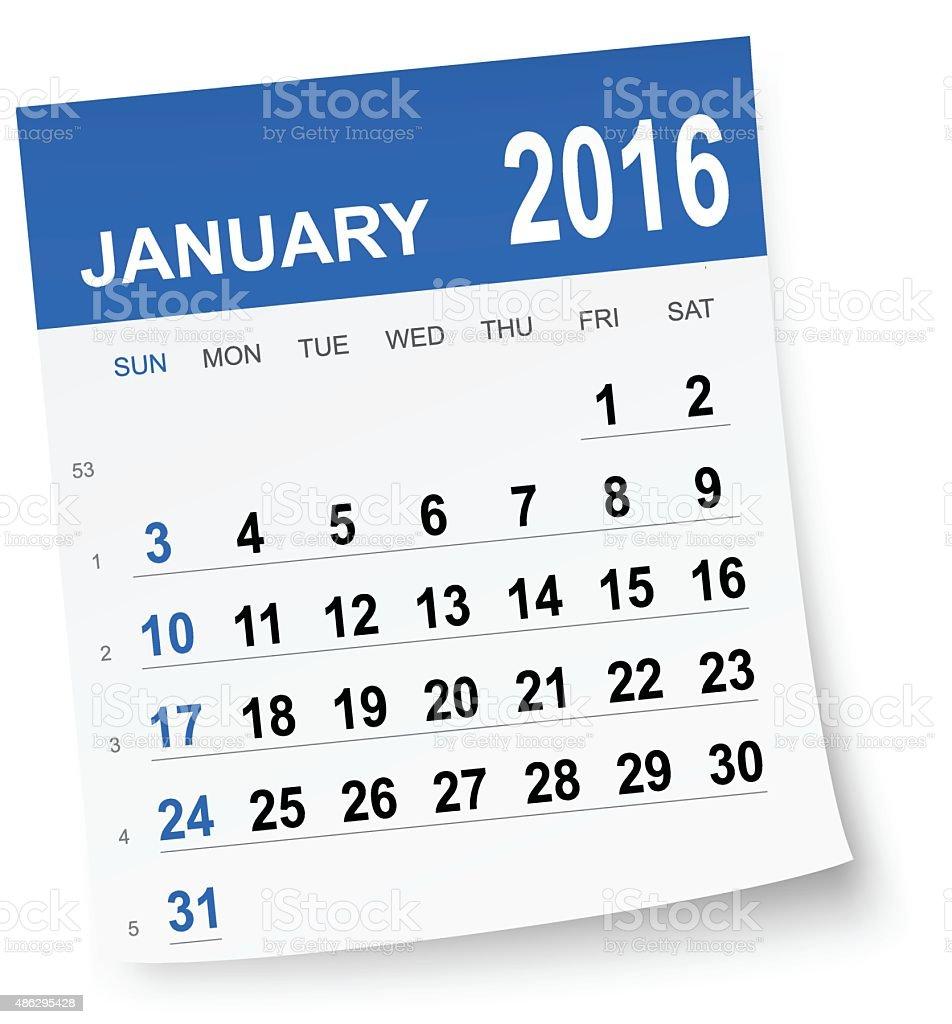 January 2016 calendar vector art illustration