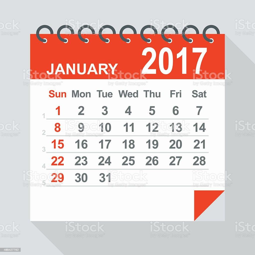 January 2017 calendar - Illustration vector art illustration