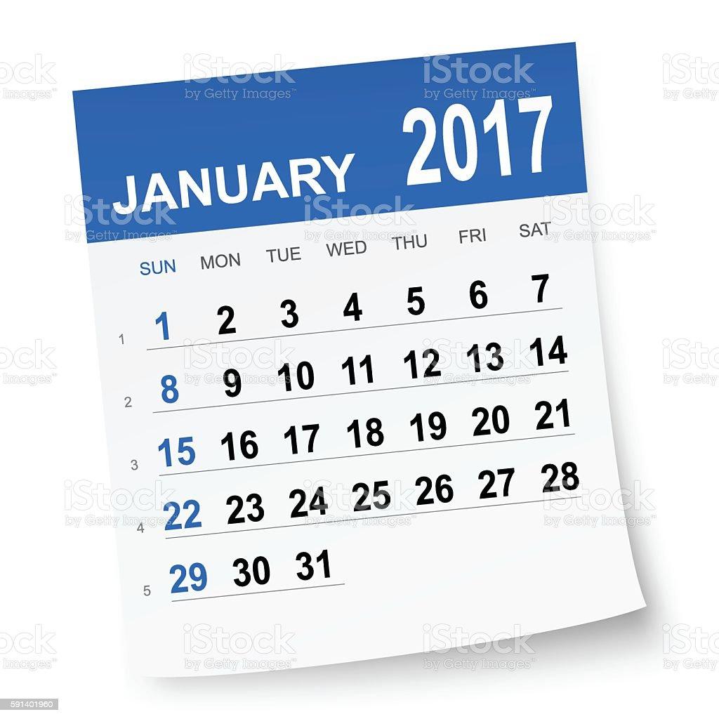 January 2017 calendar vector art illustration