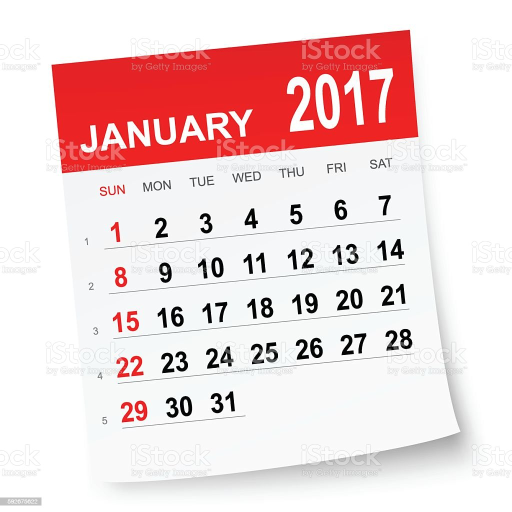January 2017 calendar vector art illustration