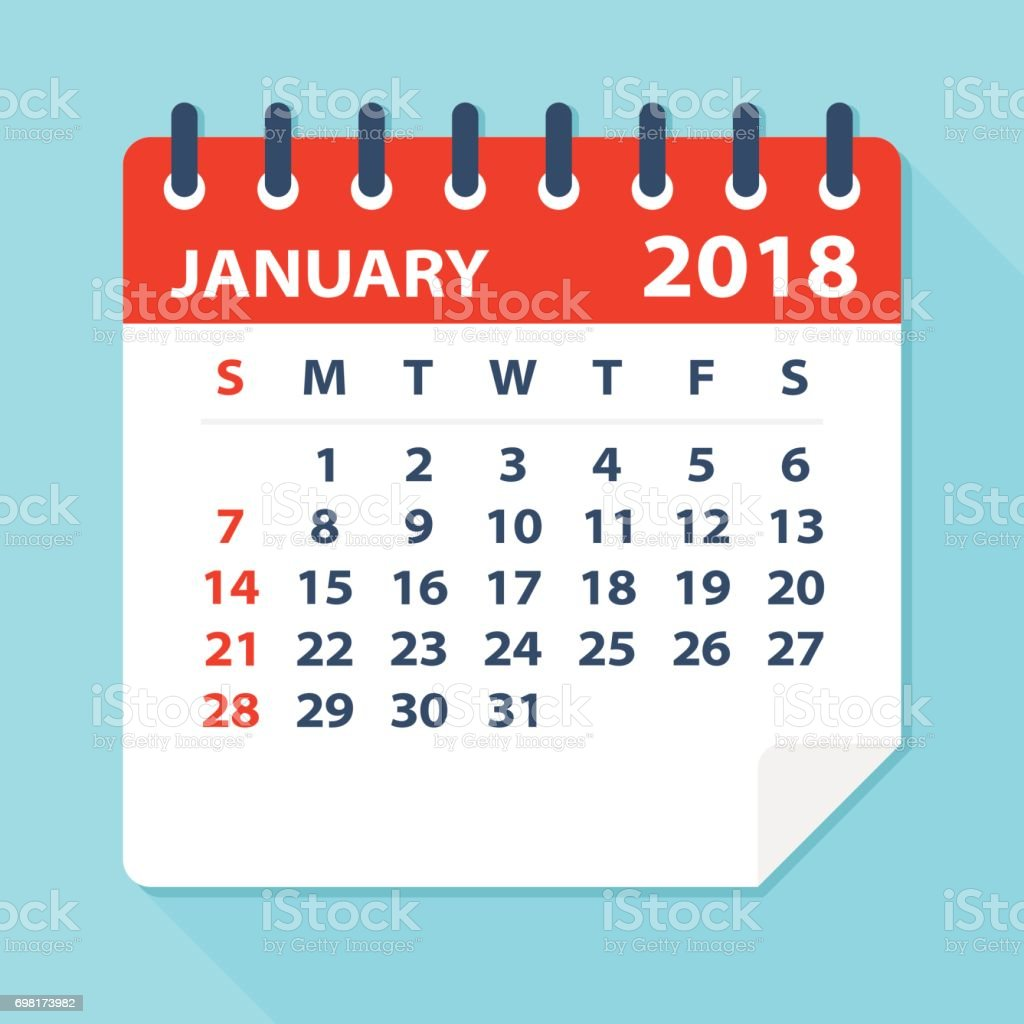 Royalty Free January 2018 Calendar Clip Art, Vector Images ...